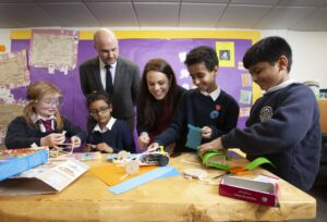Pupils from Anderston PS speak with Kate Forbes MSP and Kraig Brown