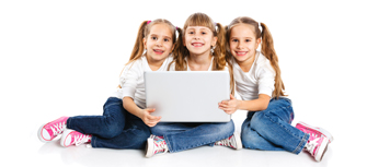 Three chi;ldren with laptop