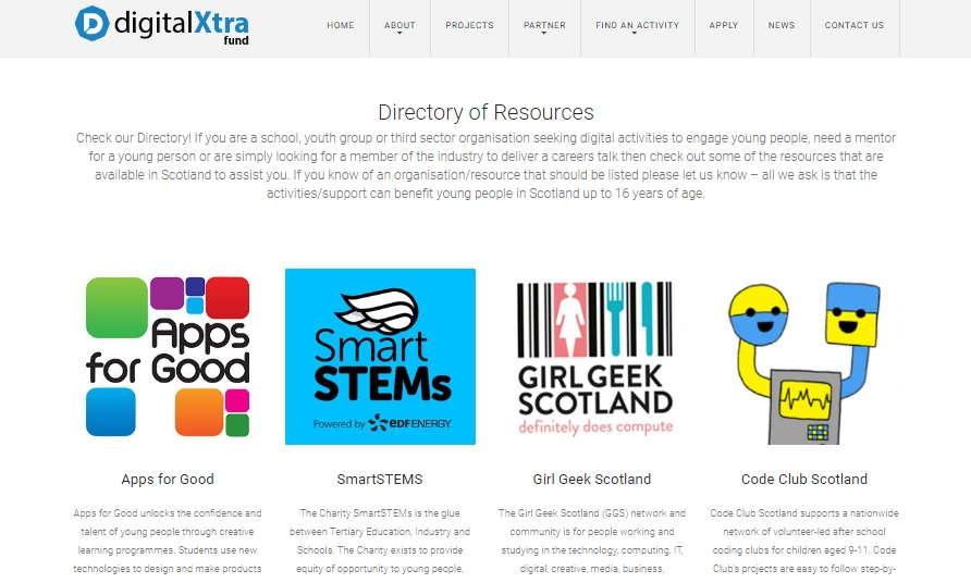 Directory of Resources added to Digital Xtra Fund web site
