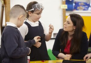Pupils at Anderston PS speak with Kate Forbes MSP (Digital Xtra Fund)