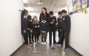 Pupils from Anderston PS show off their micro:bit cars